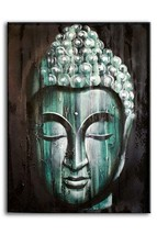 Gold, Silver or Green Buddha. Oil Painting on Canvas. 60x80cm. Fairtrade - $36.00