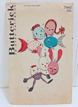BUTTERICK Vtg Scatter Pillow Patterns 7940 Egg Heads Bunnies Fish Humpty... - $23.70