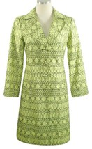 Nanette Lepore Sz 4 Lime green Fit and Flare Embroidered Long Spring Coa... - $49.49