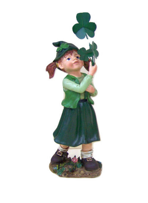 Irish Leprechaun Girl Statue Figurine Green Lucky Lassie Clover shamrock