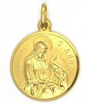 SOLID 18K YELLOW GOLD ROUND MEDAL, SAINT ANNE, ANNA & VIRGIN MARY, DIAM. 17mm image 1