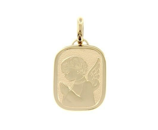 18K YELLOW GOLD PENDANT RECTANGULAR PRAYING ANGEL MARY ENGRAVABLE MADE IN ITALY