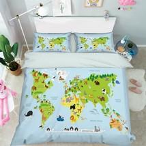 3D World Map 206 Bed Pillowcases Quilt Duvet Cover Set Single Queen King Size AU - $90.04+