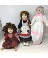 Lot of 3 Vintage Porcelain Dolls Standing And  Sitting - £13.47 GBP
