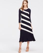 Ann Taylor Bias A-Line Diagonal Stripe Sweater Dress Wool Blend Navy Size M, NWT - $85.49