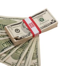 PROP MOVIE MONEY - 2000 – 1980 Series $5 Full Print Aged Prop Money Stack - $20.00