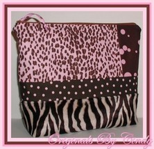 Pink Brown Leopard Make Up Bag With Interior Pockets Zebra Cream Cosmetic Case - $28.00