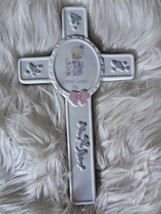 VNTG 1990 Enesco Precious Moments Wall Cross 8x5 Girl Praying Jesus Love... - $18.69