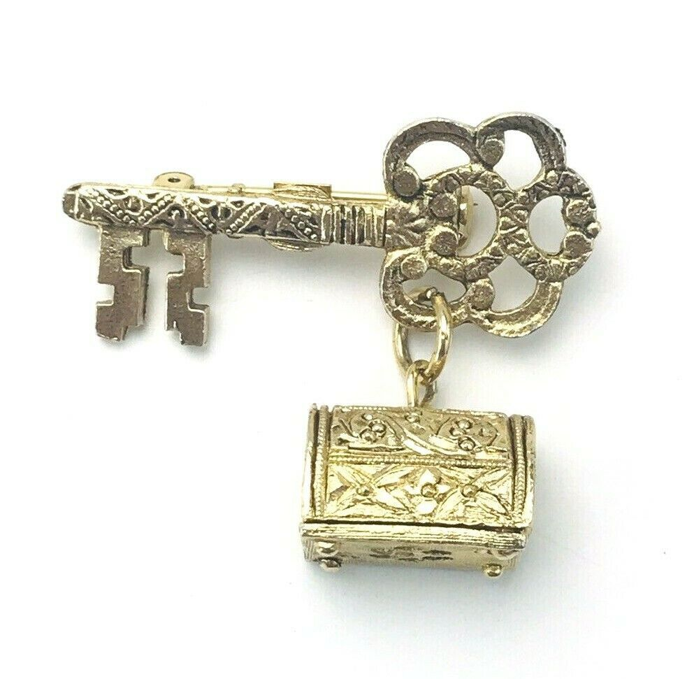 Primary image for Etched Gold Tone Key Treasure Chest Brooch Pin