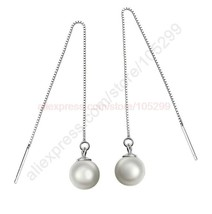 Quality freshwater pearl beads 925 sterling silver jewelry earring ear thread long line thumb200