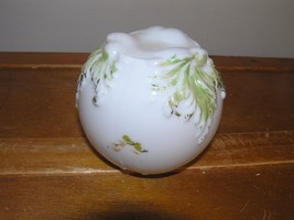 Vintage Small White Glass with Green Painted Leaves Bulb Cover or Could ... - $6.79
