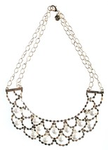 Cohesive Jewels Simulated Pearl & Crystal Gold Plated Scallop Bib Necklace NWT