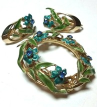 VINTAGE BLUE GREEN ENAMEL LEAVES RHINESTONE BROOCH PIN & CLIP ON EARRINGS - $75.00