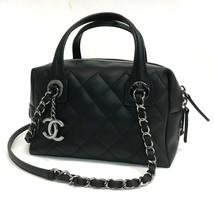 AUTHENTIC UNUSED! CHANEL CC Charm Lambskin Leather Matelasse Hand Bag Black - $3,940.00