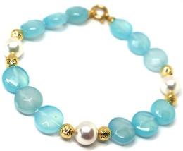 Pulsera Oro Amarillo 18K 750 , Jade Azul a Disco, Perlas, Esferas Feature - $334.73