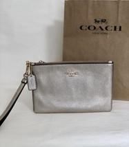 NWT Coach 23513 Platinum Pebble Leather Small Wristlet Zip Top Metallic ... - $46.71