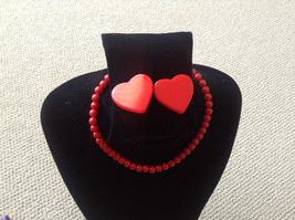 Jewelry Set Red Plastic Necklace and Clip Heart Earrings - $12.00