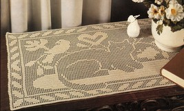 2 Black Cats Pillow Kitty Afghan Cat & Canary Doily Pilgrims Rug Crochet Pattern - $9.99