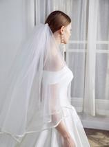 Cathedral Length Wedding Bridal Veil Full Edge Tulle White Veils Wedding Photo  image 3