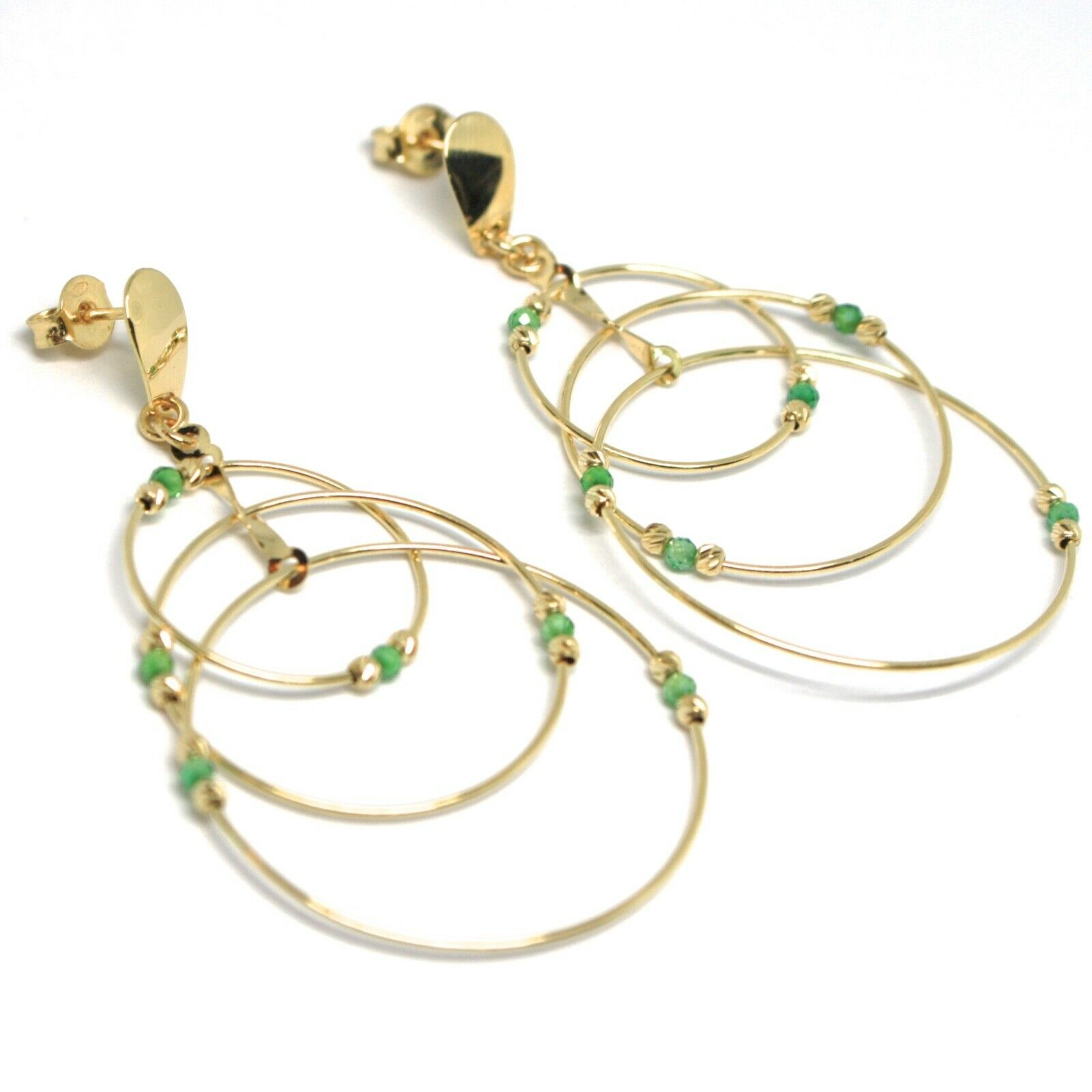 Drop Earrings Yellow Gold 750 18K, Triple Circle, Tourmaline Green, Balls