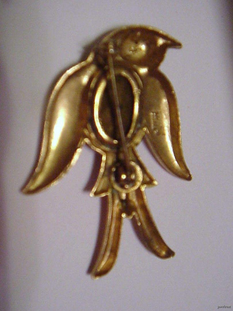 Coro Enamel Aqua Belly Bird Pin Brooch signed vintage