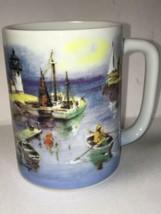 Otagiri Gibson Vintage Fishermen Fishing Boats Lighthouse Tea Coffee Mug... - $18.91