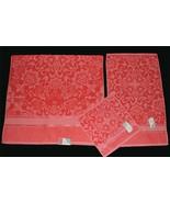 3 Boho Coral Sculpted Velour Floral Medallion Bath Hand Towels Wash Clot... - $39.99