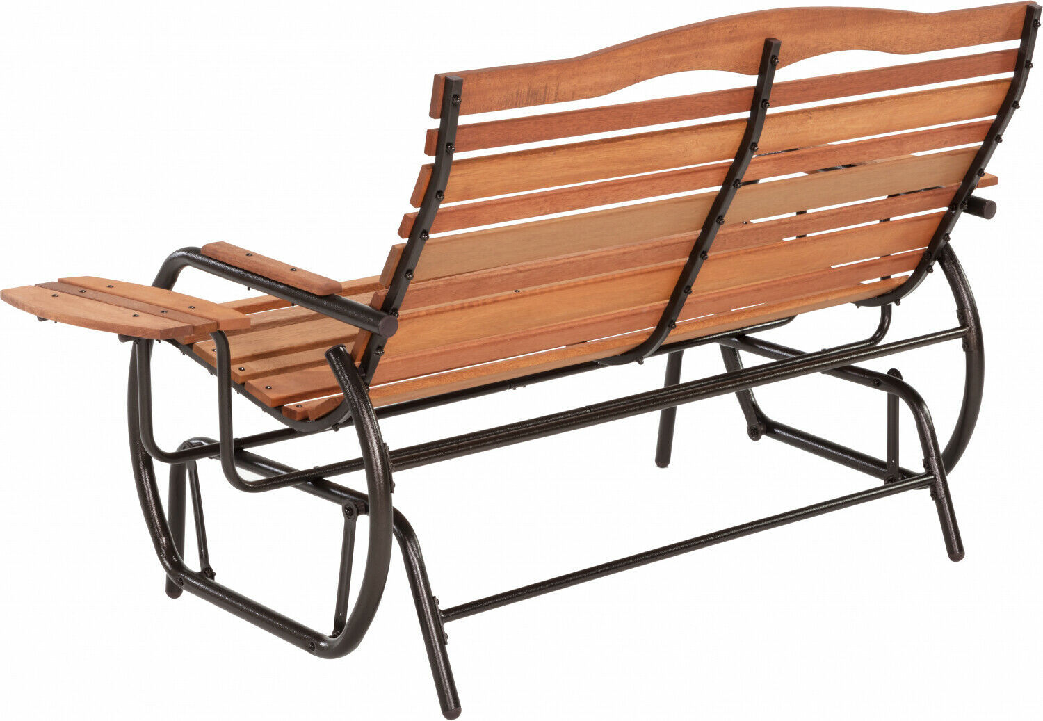 Wood Patio Bench Glider With Trays Outdoor Garden Porch Swing Chair Loveseat image 3