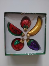 Fruit Ornaments Blown Glass Set of 5 Apple Grapes Watermelon Strawberry ... - $19.99