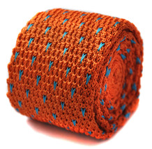 Frederick Thomas knitted orange and light blue spotty tie FT1198 - $18.37