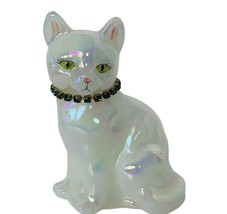 Fenton art glass Cat figurine milk white kitten signed birthday necklace... - $64.35