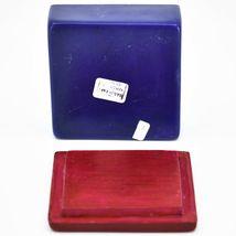 "Vaneal Group Hand Carved Kisii Soapstone Red & Blue Floral Flower 3"" Trinket Box image 5"