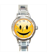 Smiley Face Round Italian Charm Watch - $19.95