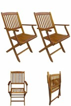 Wooden Folding Dining Chairs 2 Pc Outdoor Garden Patio Seating Furniture... - $131.33