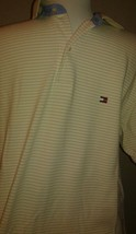Vtg 90's Tommy Hilfiger Beige Striped Short Sleeved Polo Shirt Sz Small - $34.64