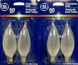 GE 60CA10/F/PM/2 60W Light Bulb Candelabra Base Bent Tip Incandescent Lot 4 Pcs - $9.95