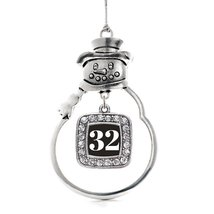 Inspired Silver Number 32 Classic Snowman Holiday Decoration Christmas Tree Orna - €12,81 EUR