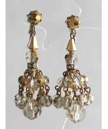 Baroque Golden Cut Glass & Rhinestone Chandelier Clip Earrings 1960s vin... - $19.75