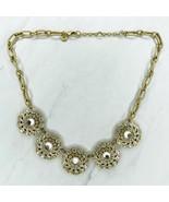 "J. Crew Gold Tone Rhinestone Flower Statement Necklace 20"" - $23.24"