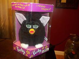 Original 1998 Vintage Furby Black, White Feet Pink Ears Green Eyes 70-80... - $56.09