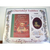 Cherished Teddies Book and Figurine Gift Set, Baby's First Christmas - $34.22
