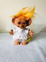 """Troll Bride Doll Wishnik Uneeda In Wedding Dress Orange Hair w/ Tag Vintage 6"""" - $18.69"""
