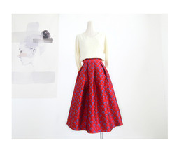 Women Deep Red Party Skirt High Waist Red Pleated Skirt A-line Midi Party Skirts image 3