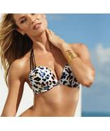 Victoria's Secret Bikini 34B Bombshell Halter Black Blue Leopard Medium ... - $118.80