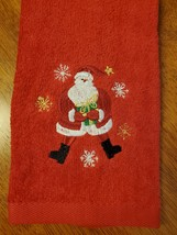 CHRISTMAS FINGERTIP TOWEL SET 3pc, Embroidered Holiday Towels, Santa Red Green image 2