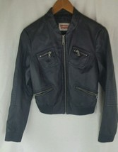 LEVIS BLACK LEATHERETTE BOMBER MOTORCYCLE JACKET SIZE SMALL - $33.65