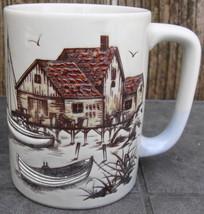 "1960s OTAGIRI Hand Painted 5"" Coffee Mug Cup Fishing Village Boats Shack - $20.00"