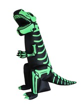 8 Foot Tall Halloween Inflatable Green Skeleton T-Rex Dinosaur Yard Deco... - $109.00