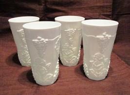 Indiana Colony Milk Glass Opaque White Harvest Grape 10 ounce Glassware 4 Pieces - $36.00