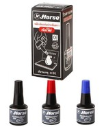 30 cc. HORSE Refill Ink For Stamp Ink Pad Permanent Waterproof Black Blue Red - $9.32